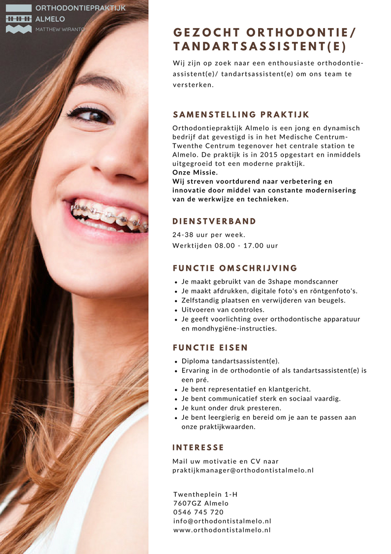 Vacature orthodontie / tandartsassistente | Orthodontist Almelo